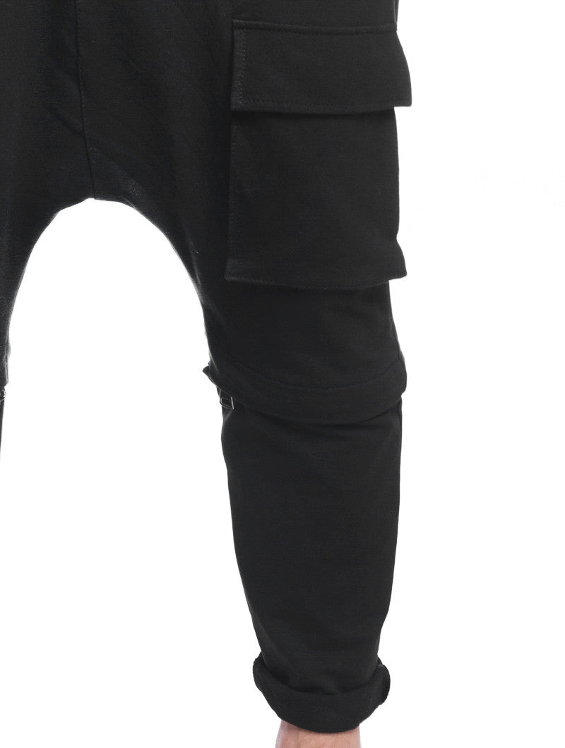 MEN'S CLOTHING | DAVE PANTS | BLACK CARGO TROUSERS | COMBATS | COMBAT TROUSERS | BOTTOMS | COMBAT SHORTS | CONVERTIBLE DESIGN | ZIP-OFF LEG | NOHOW BLACK COLLECTION | NOHOW
