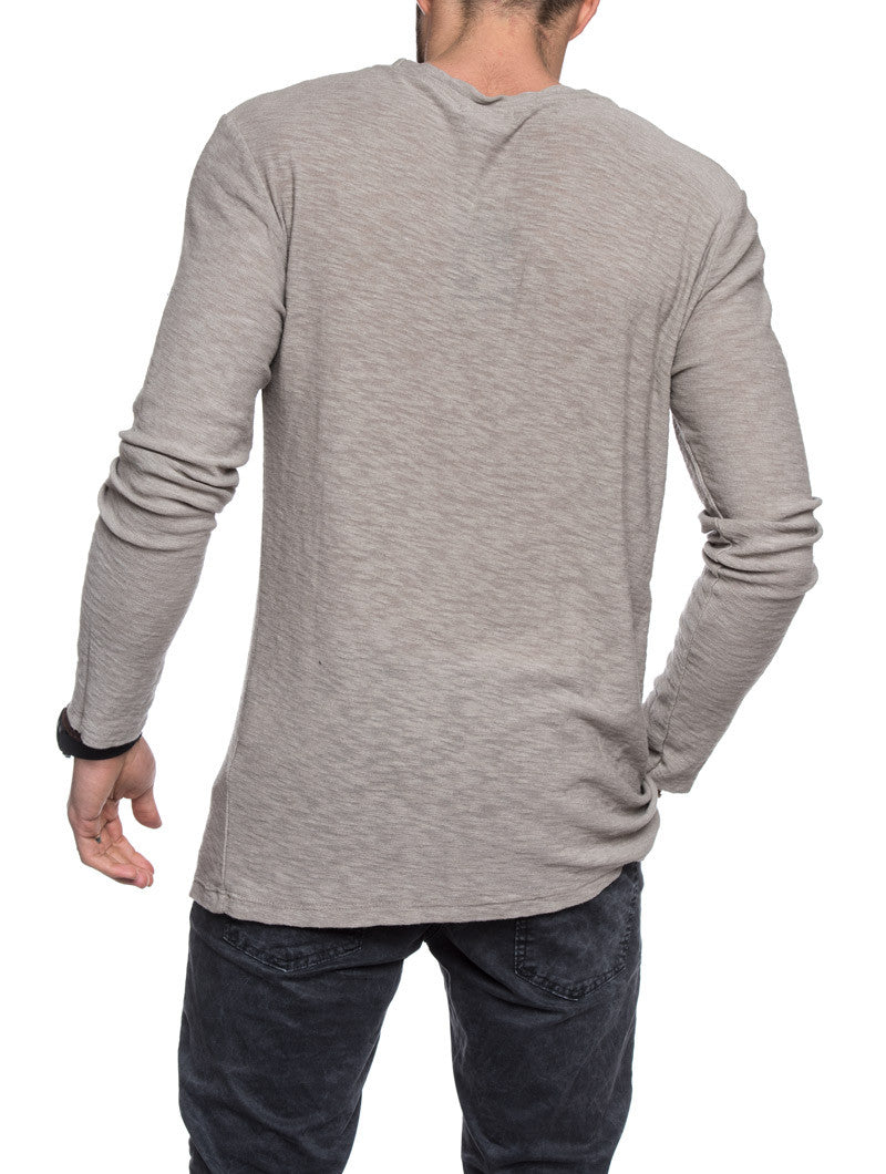 MEN'S CLOTHING | BEIGE LONG SLEEVES RIPPED T-SHIRT | DISTRESSED SHIRT | LONG SLEEVES | CREW NECK | NOHOW STREETWEAR COLLECTION | NOHOW
