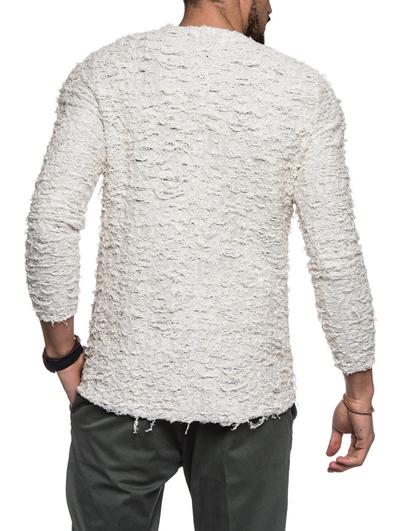 WHITE DESTROYED SWEATER