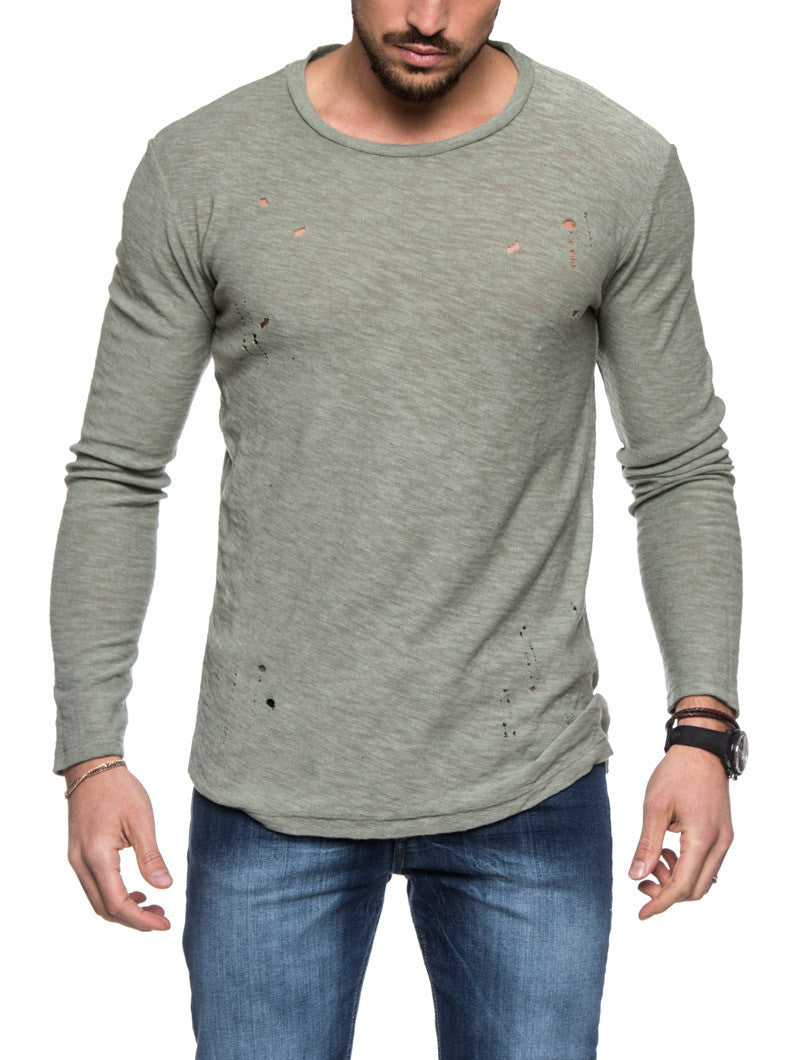 GREEN LONG SLEEVES RIPPED T-SHIRT