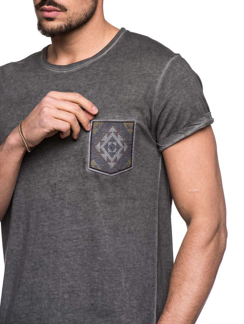 MEN'S CLOTHING | GREY PATCH T-SHIRT | NOHOW