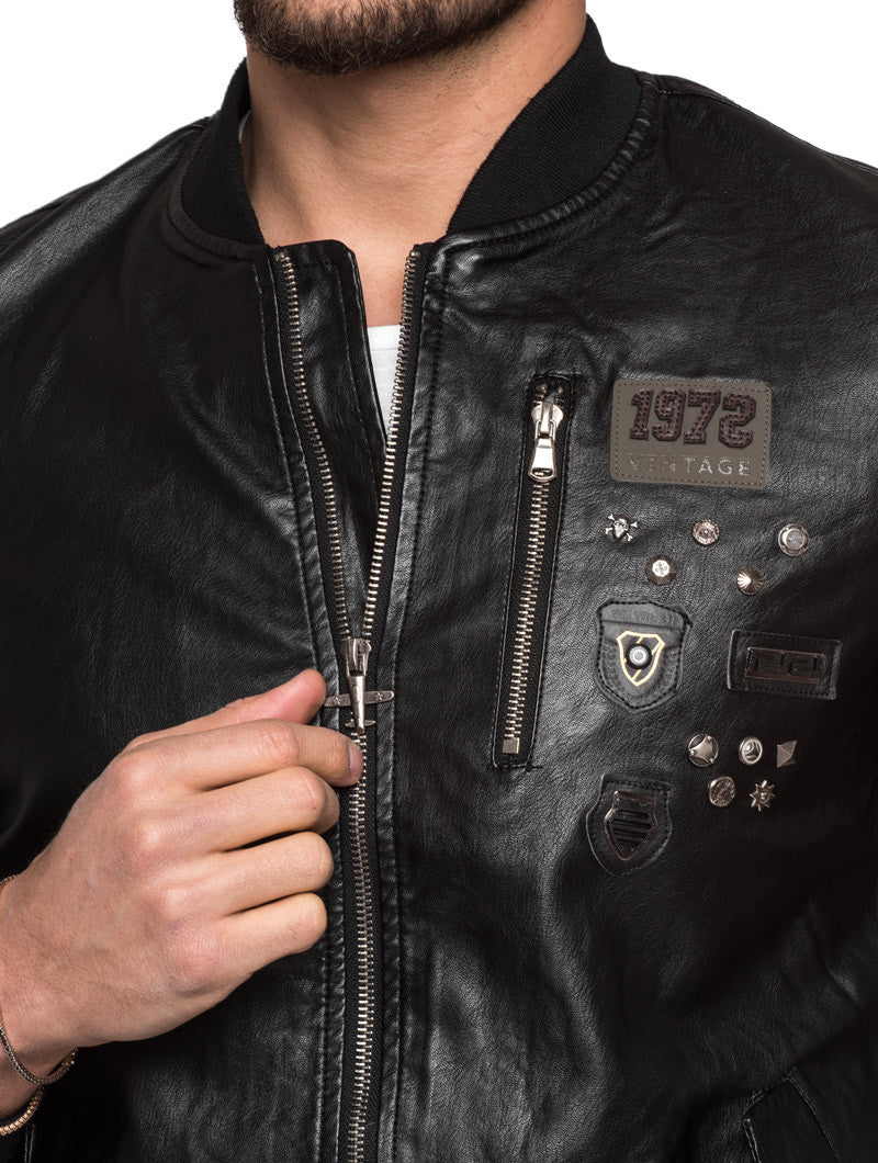 BLACK PATCH AND STUDS JACKET