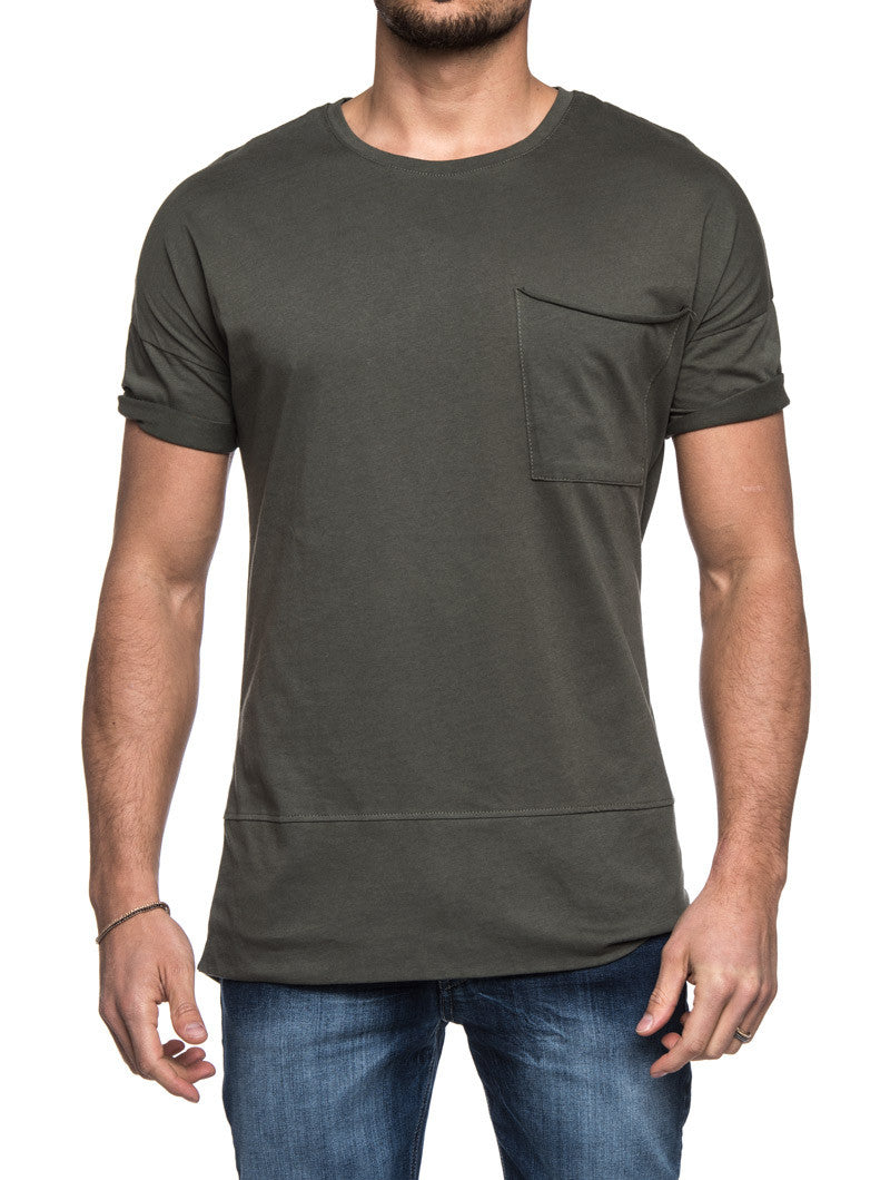OLIVE LONG TEE POCKET