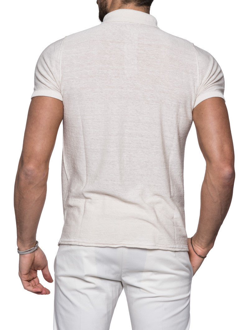 MEN'S CLOTHING | BEIGE POLO T-SHIRT | NOWHOW STREET COUTURE