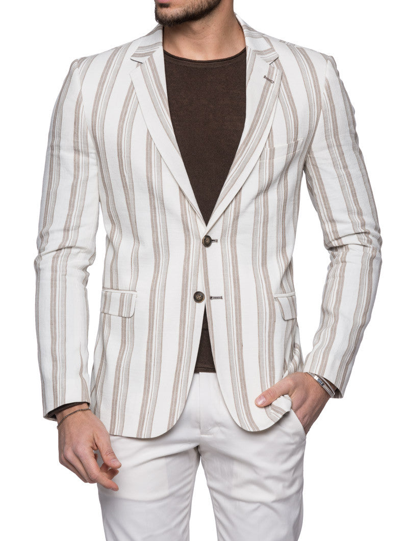 BEIGE AND WHITE DOUBLE STRIPED BLAZER