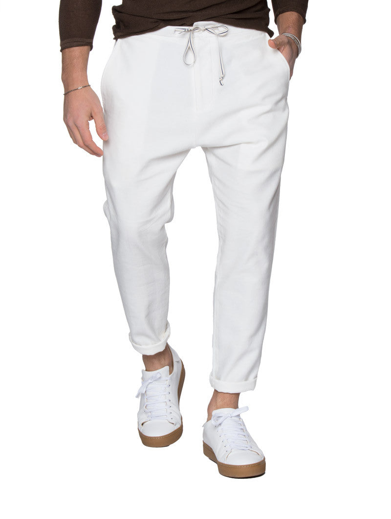 MEN'S CLOTHING | LIGHT CREAM CARROT PANTS | CARROT TROUSERS | SUMMER  BOTTOMS | TAPERED FIT