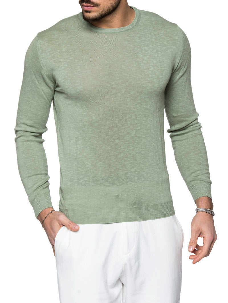 MEN'S CLOTHING | PASTEL GREEN SWEATER | FINE KNIT | SAGE | CREW NECK | LONG SLEEVE | RIBBED CUFFS | RIBBED HEM | COTTON | NOHOW STREET COUTURE | NOHOW