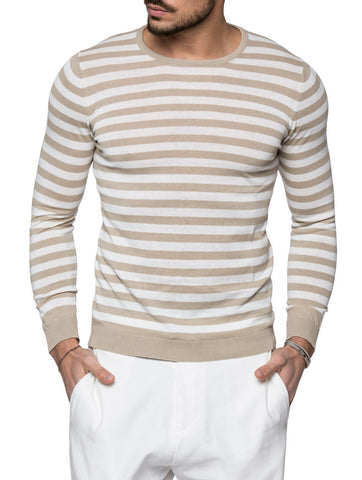 BEIGE AND WHITE STRIPED SWEATER