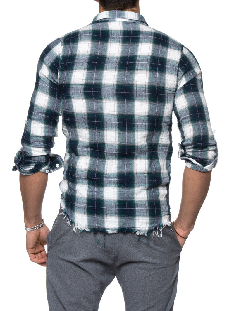 Men 39 s clothing green plaid flannel shirt nohow nohow for Green and black plaid flannel shirt