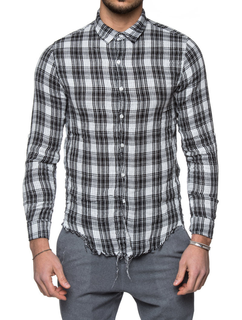 Men's Clothing | Black Plaid Flannel Shirt | Nohow