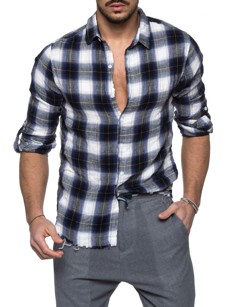 Men's Clothing | Blue Plaid Flannel Shirt | Nohow