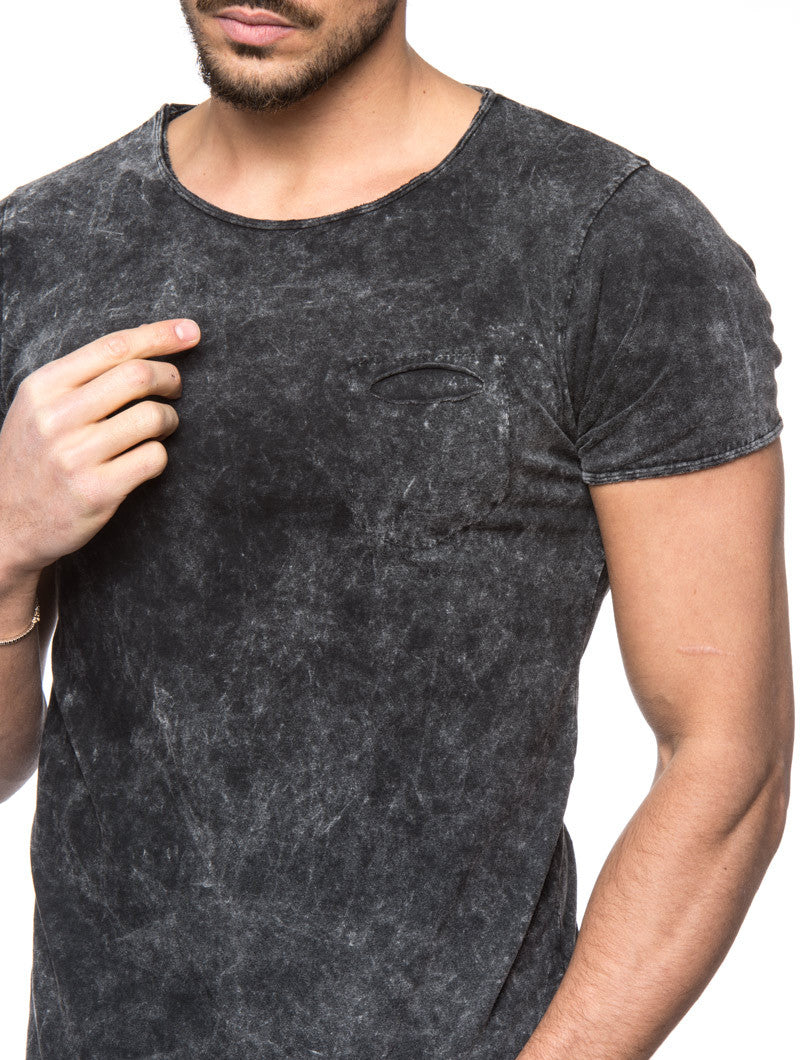 Men's Clothing | Black Aged T-Shirt | ACID WASH EFFECT | CHEST POCKET | NOHOW STREETWEAR COLLECTION | Nohow