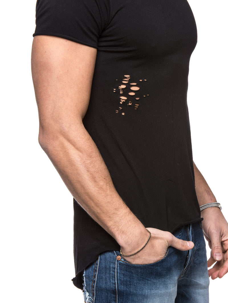 Men's Clothing | Black Street T-Shirt with Holes | Nohow