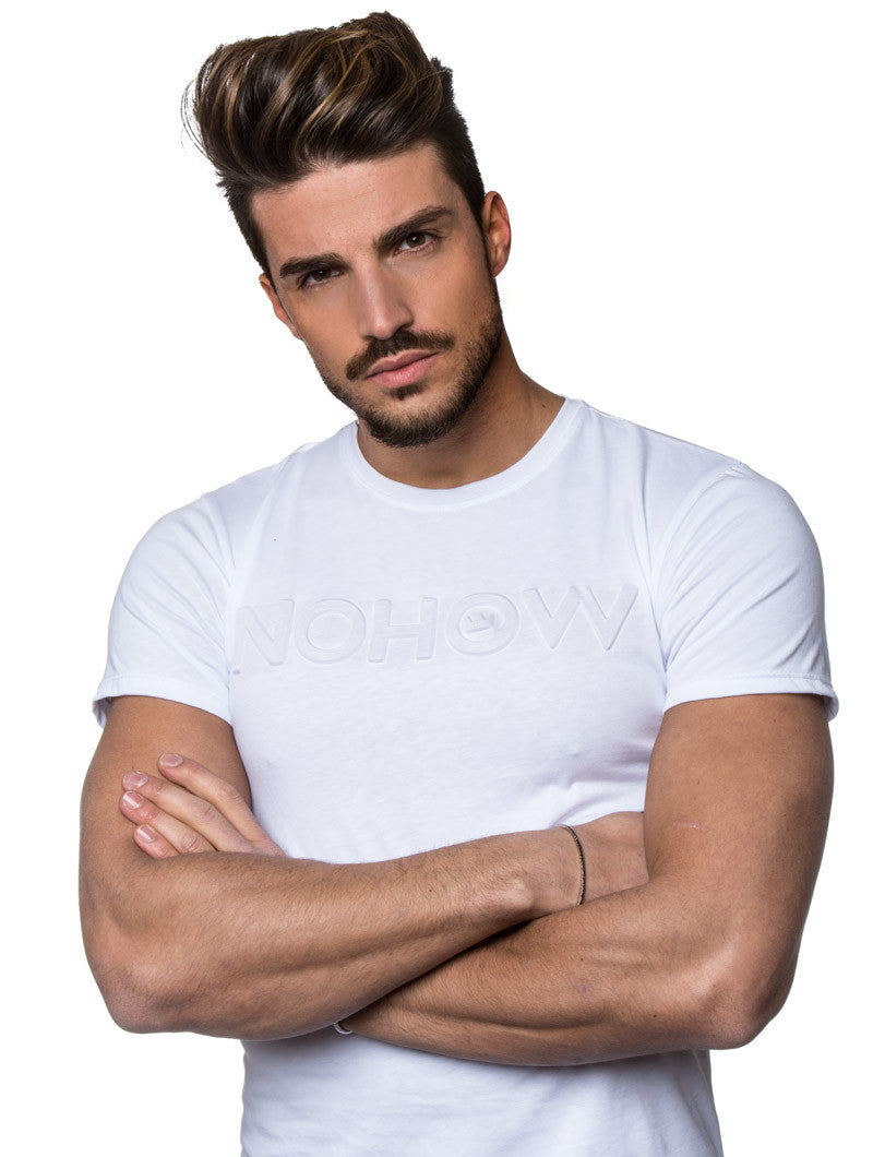 MEN'S CLOTHING | WHITE 3D NOHOW T-SHIRT | WHITE | CURVED HEM | LONGLINE CUT | EMBOSSED BRANDING DETAIL | SHORT SLEEVES | CREW NECK | SKINNY FIT | NOHOW SUMMER COLLECTION | NOHOW