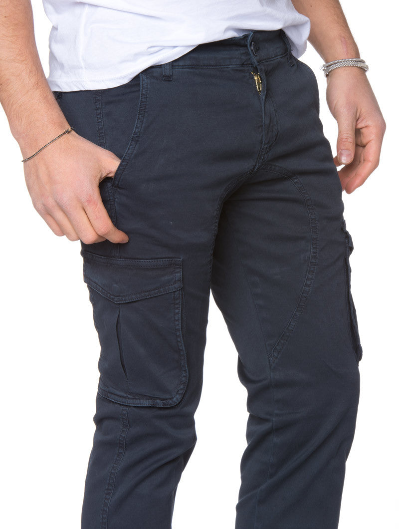 MEN'S CLOTHING | BLUE CARGO PANTS | COMBATS | COMBAT TROUSERS | PANTS FOR MEN | COTTON | MADE IN ITALY | SKINNY FIT | NOHOW STREET COUTURE | NOHOW