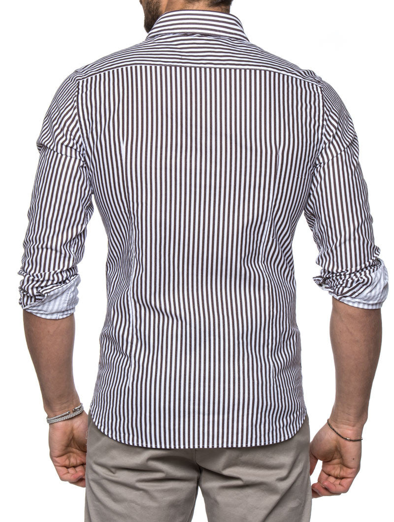 WHITE AND BROWN STRIPED SHIRT