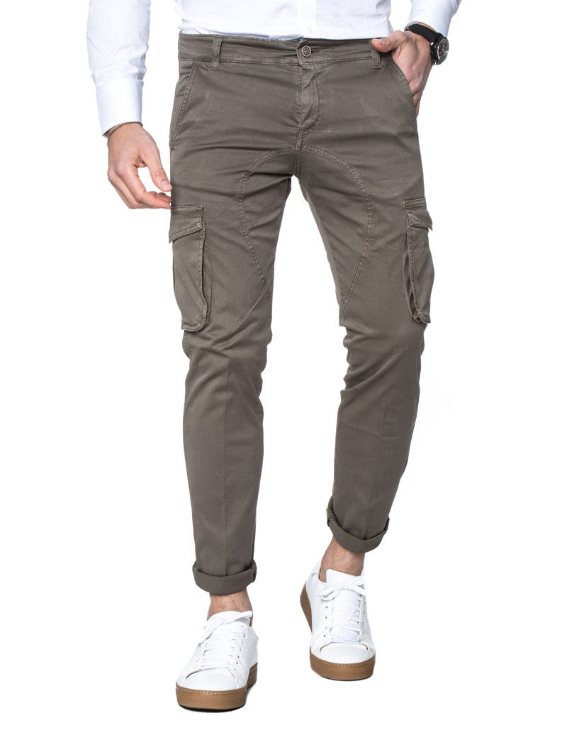 MEN'S CLOTHING | COFFEE CARGO PANTS | COMBATS | COMBAT TROUSERS | PANTS FOR MEN | BROWN | COTTON | MADE IN ITALY | SKINNY FIT | NOHOW STREET COUTURE | NOHOW
