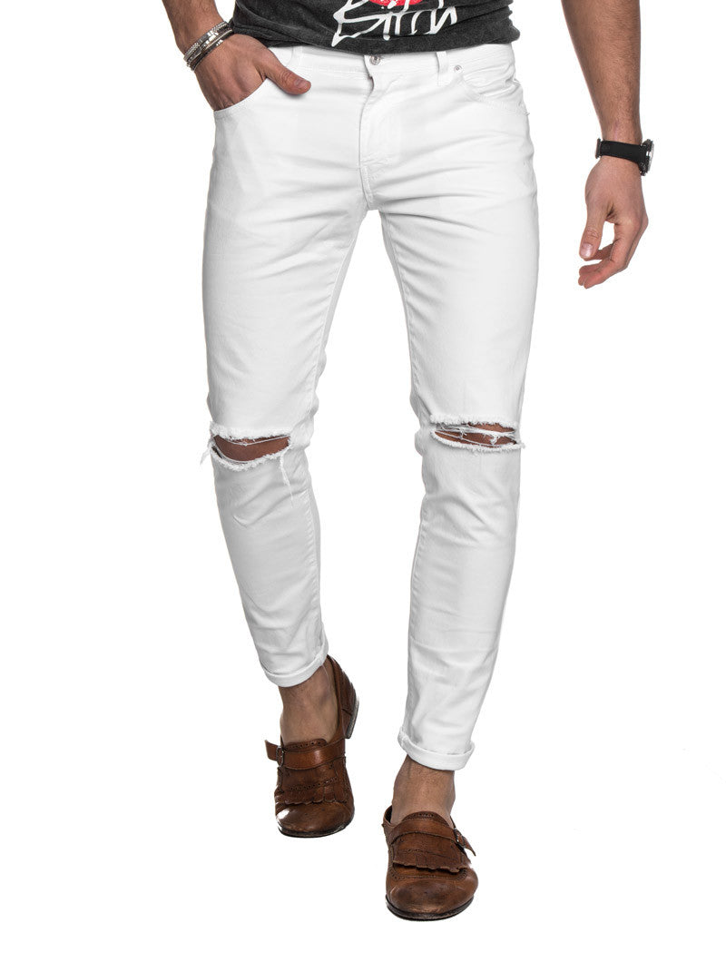 00398330 Men's Clothing | White Ripped Jeans | destroyed | distressed | skinny |  NOHOW SUMMER COLLECTION. Hover to zoom