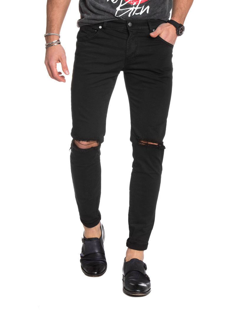Men's Clothing | Black Ripped Jeans | destroyed | distressed | skinny | Nohow