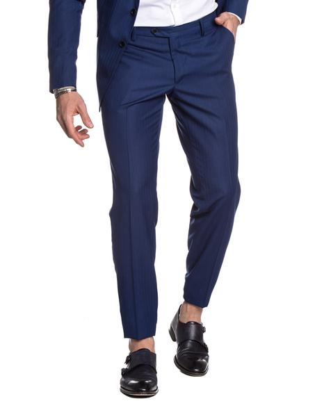 BLUE STRIPED FORMAL PANTS
