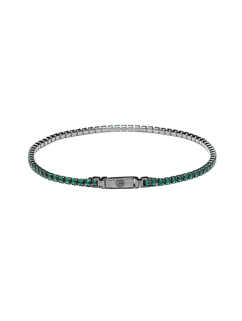 MEN'S JEWELS | GREEN TENNIS BRACELET | SILVER AND ZIRCONS | ZIRCONIUM SILICATE | MEN'S BRACELETS | MEN'S JEWELS | MDV Jewels collection | NOHOW
