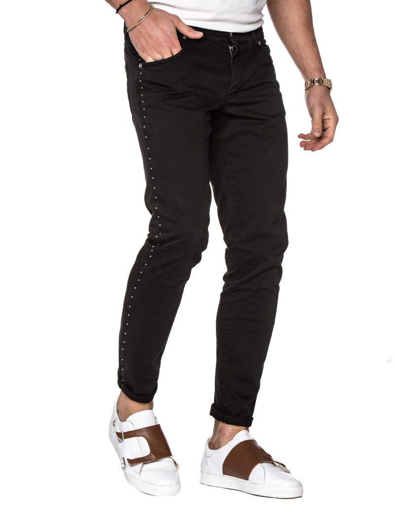 MEN'S CLOTHING | BLACK STUDS PANTS | FIVE POCKET | STUDS | BLACK BOTTOMS | MEN'S TROUSERS | NOHOW STREETWEAR COLLECTION | NOHOW