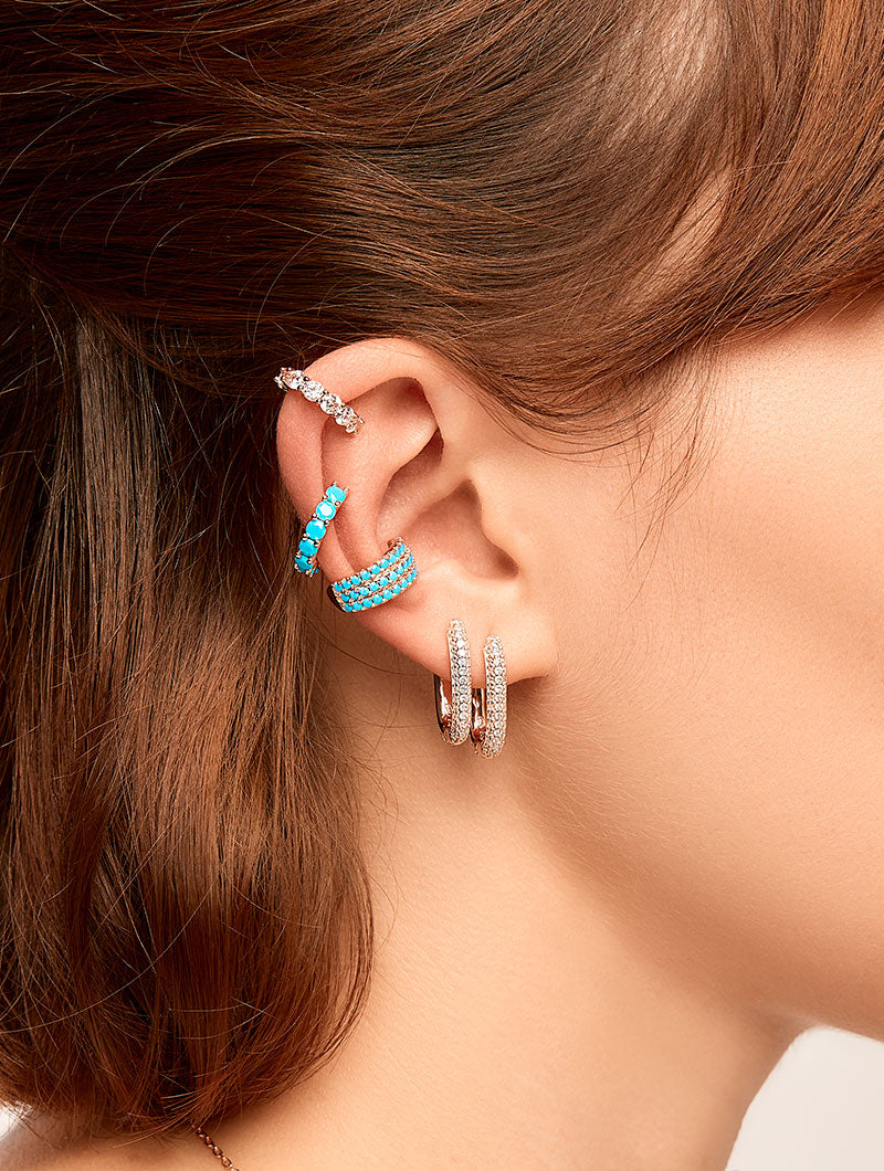 NORA EARCUFF IN GOLD WITH TURQUOISE ZIRCONS