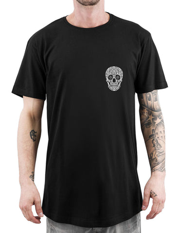 HALLOWEEN T-SHIRT | NOHOW STYLE | BLACK POCKET SKULL LONG TEE