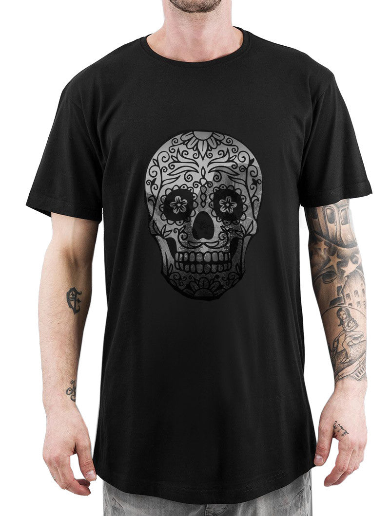 HALLOWEEN T-SHIRT | NOHOW STYLE | BLACK SKULL DARK LONG TEE