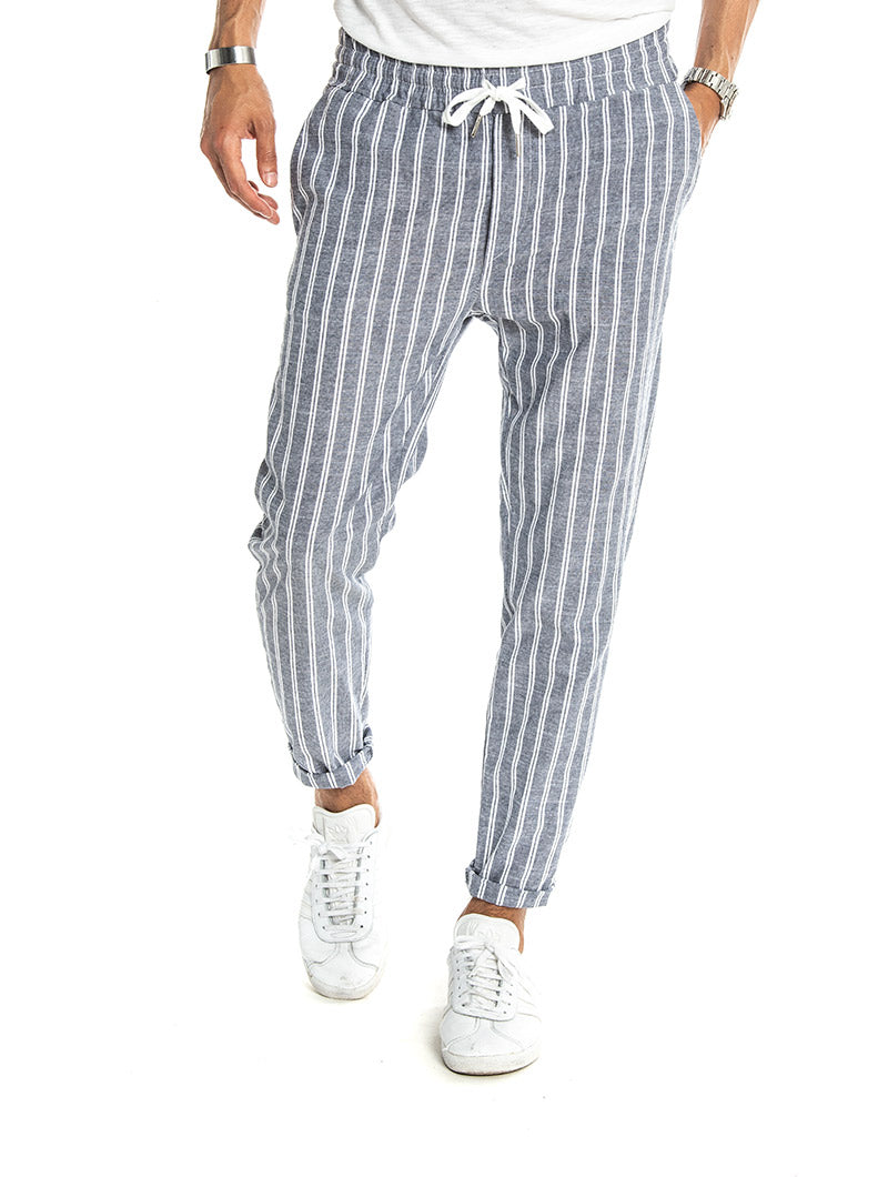 Men\'s Pants - Striped Blue - Nohow – Nohow Style