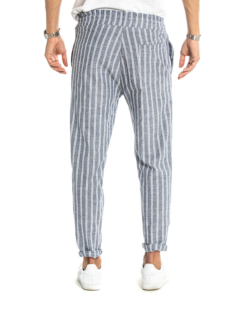 PAGOS STRIPED TROUSERS IN POWDER BLUE