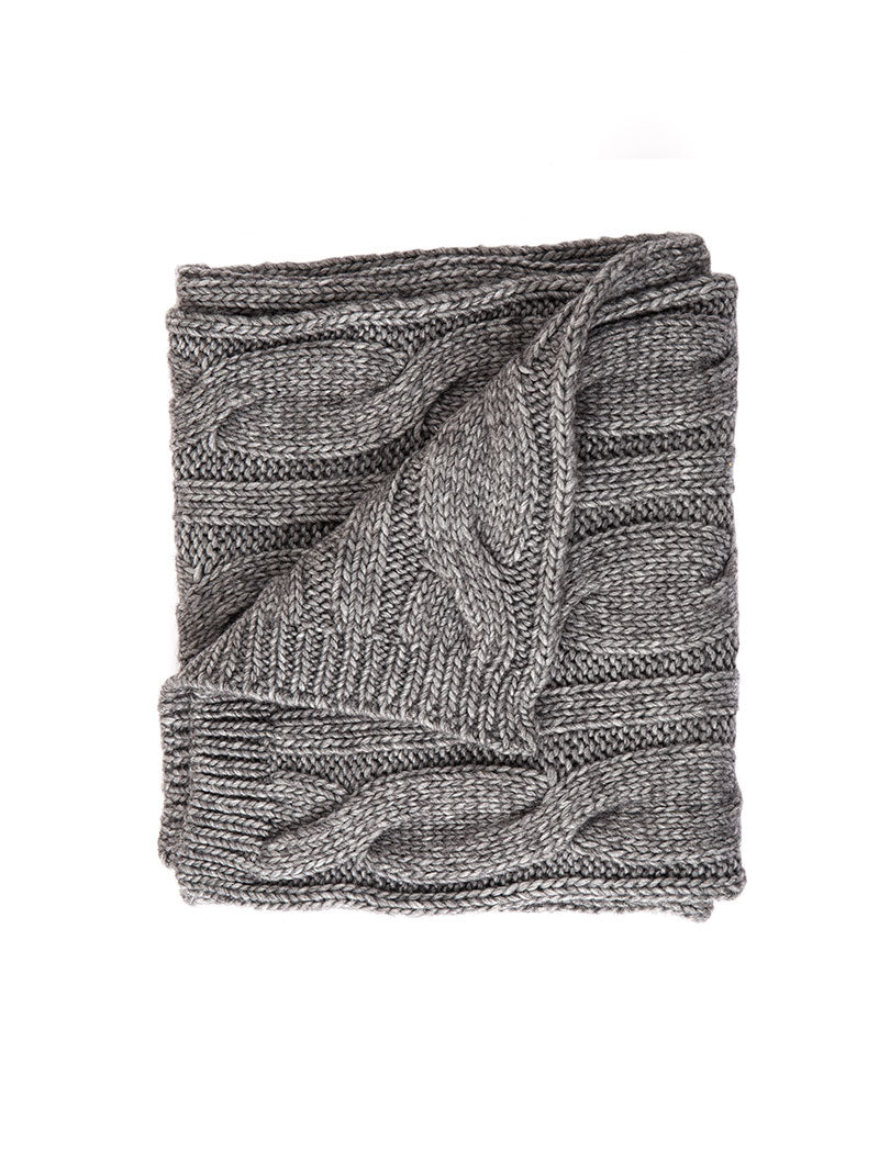 TURAN CABLE KNIT SCARF IN GREY