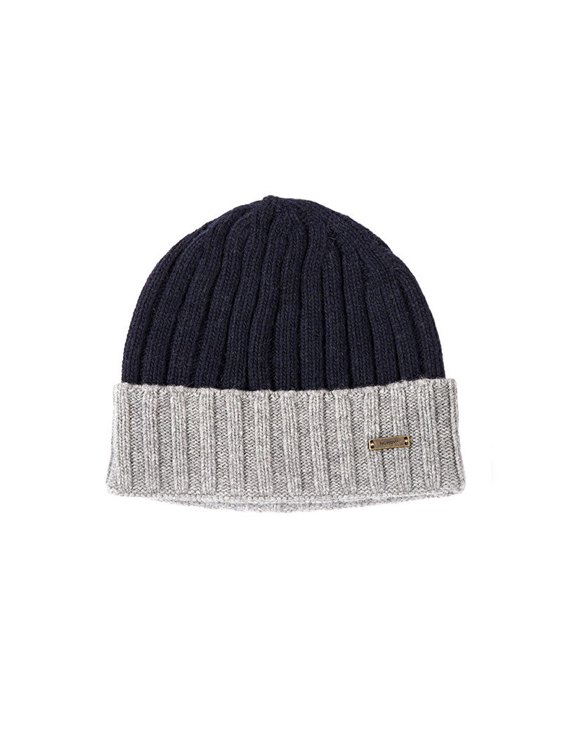 CALLISTO FISHERMAN BEANIE IN BLUE AND GREY