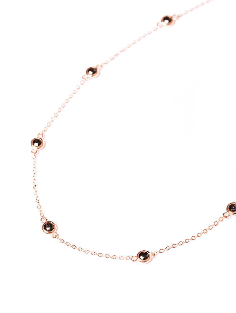 SOPHIA CHAIN NECKLACE IN ROSE GOLD WITH BLACK ZIRCONS