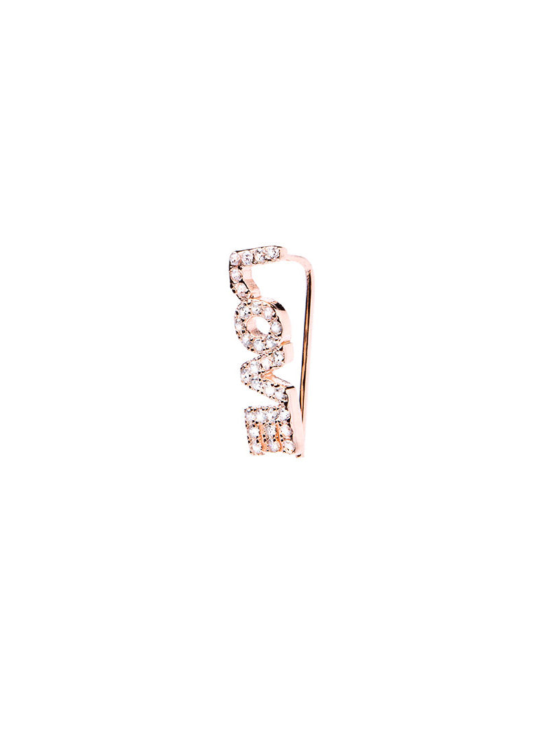 LOVE EARRING CLIP WITH WHITE ZIRCONS