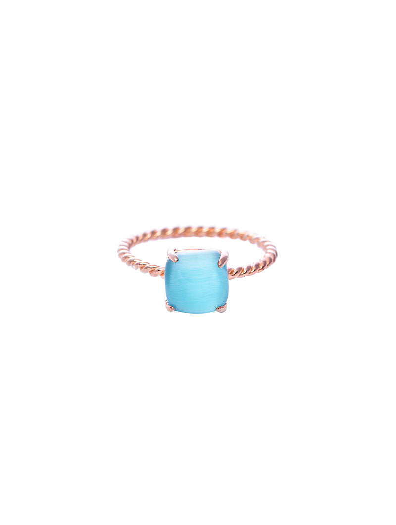 CHERYL RING WITH TURQUOISE STONE IN ROSE GOLD