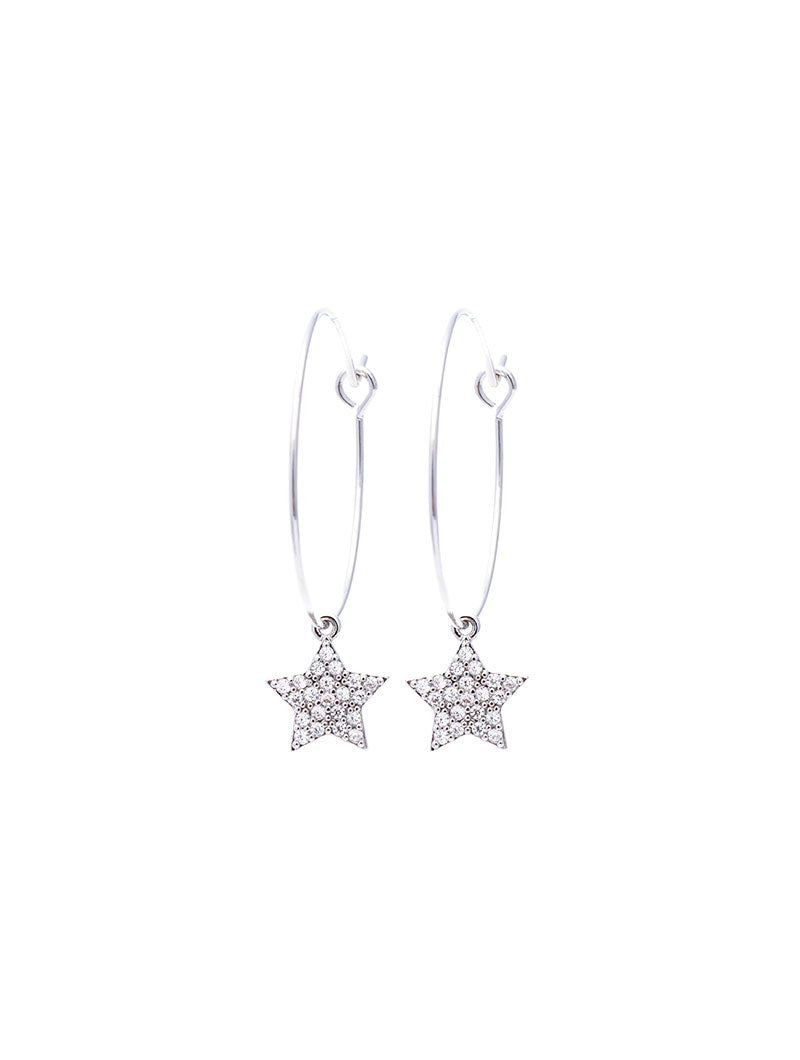STAR EARRING IN SILVER WITH ZIRCONS PENDANT