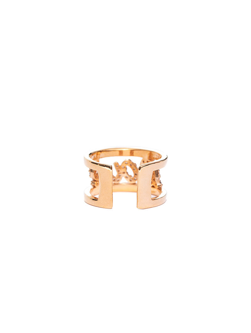 KELLY ADJUSTABLE RING WITH LOVE LETTERING IN ZIRCONS