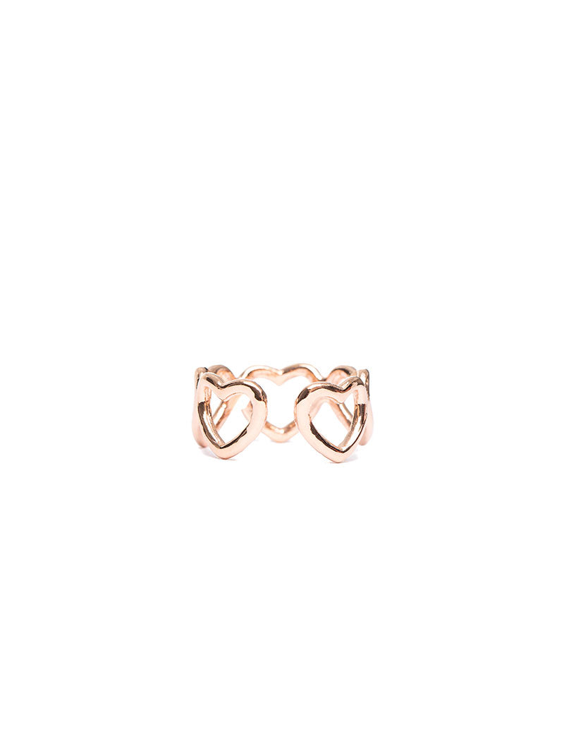 KELLY ADJUSTABLE RING WITH BIG HEARTS IN ROSE GOLD