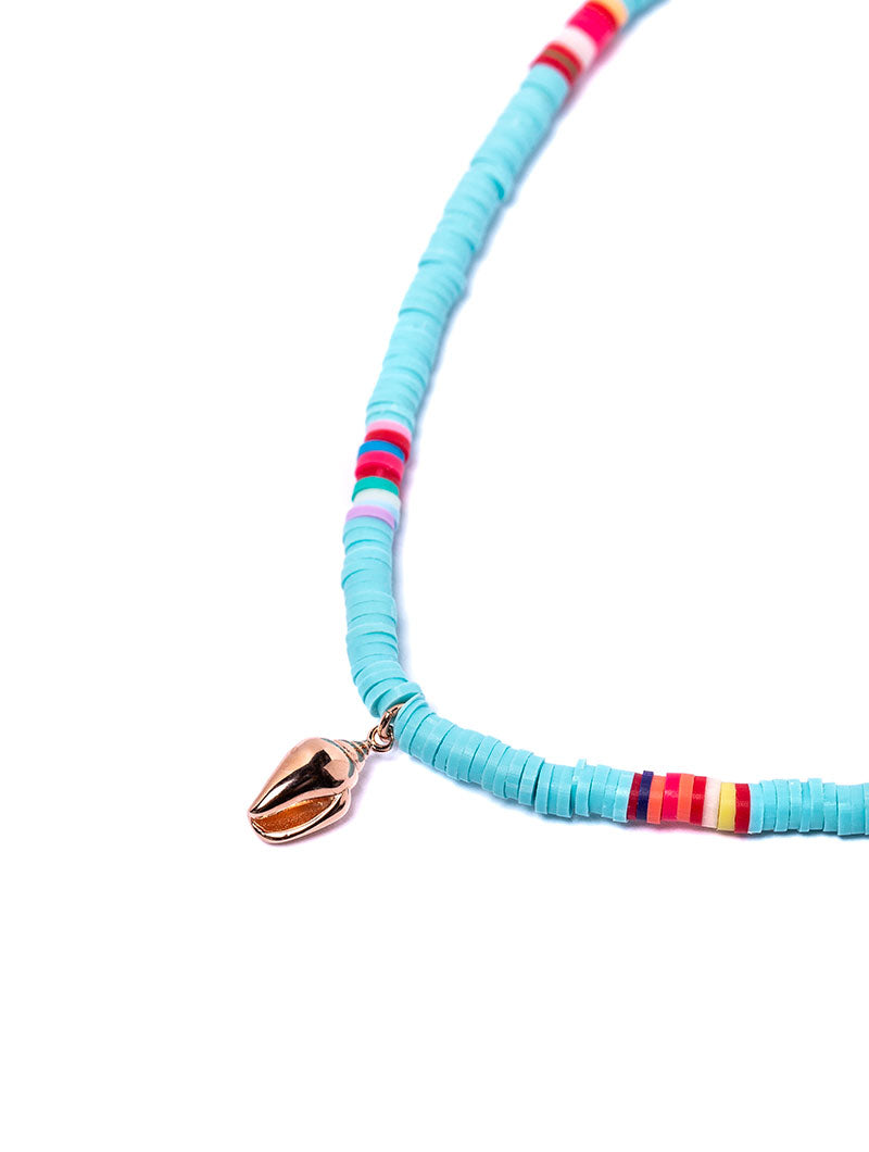 CANDY NECKLACE IN TURQUOISE WITH SHELL CHARM