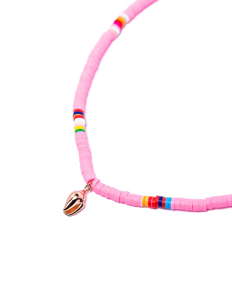 CANDY NECKLACE IN ROSE WITH SHELL CHARM