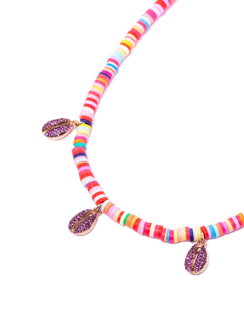 CANDY NECKLACE IN MULTICOLOR WITH SHELL CHARMS AND ROSE ZIRCONS