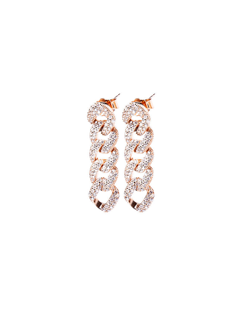 MONICA GROUMETTE EARRINGS IN ROSE GOLD WITH ZIRCONS