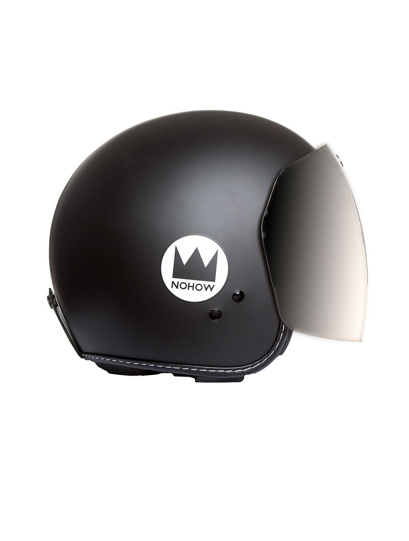 ACCESSORIES | VINTAGE SPECIAL HELMET IN MATT BLACK WITH VISOR | URBAN | MOTORCYCLE | CITY BIKER | NOHOW