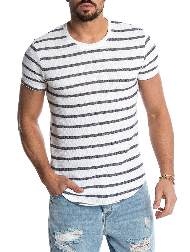 OZZY STRIPED T-SHIRT IN BLUE AND WHITE