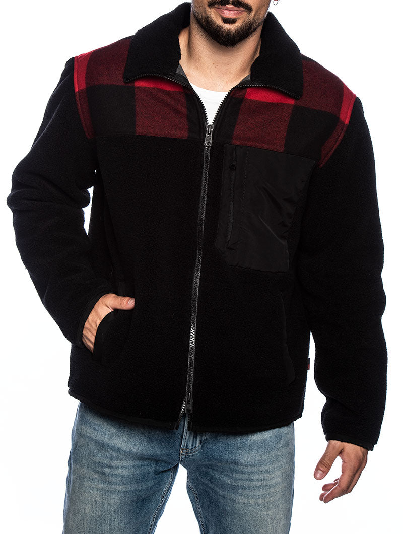 BUFFALO CURLY FZ JACKET IN BLACK AND RED