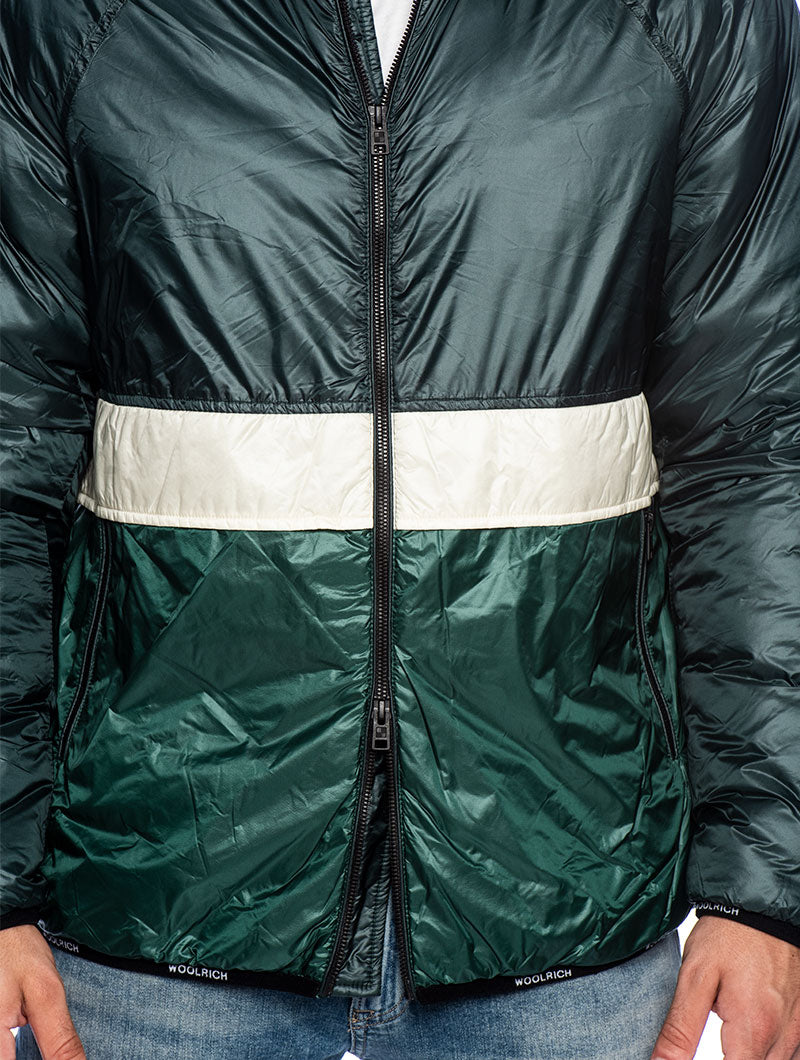 PACK-IT DOWN JACKET IN WHITE AND GREEN