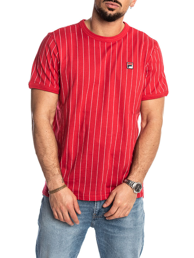 MEN GUILO STRIPED TEE WITH TRIPLE BIN IN CHINESE RED