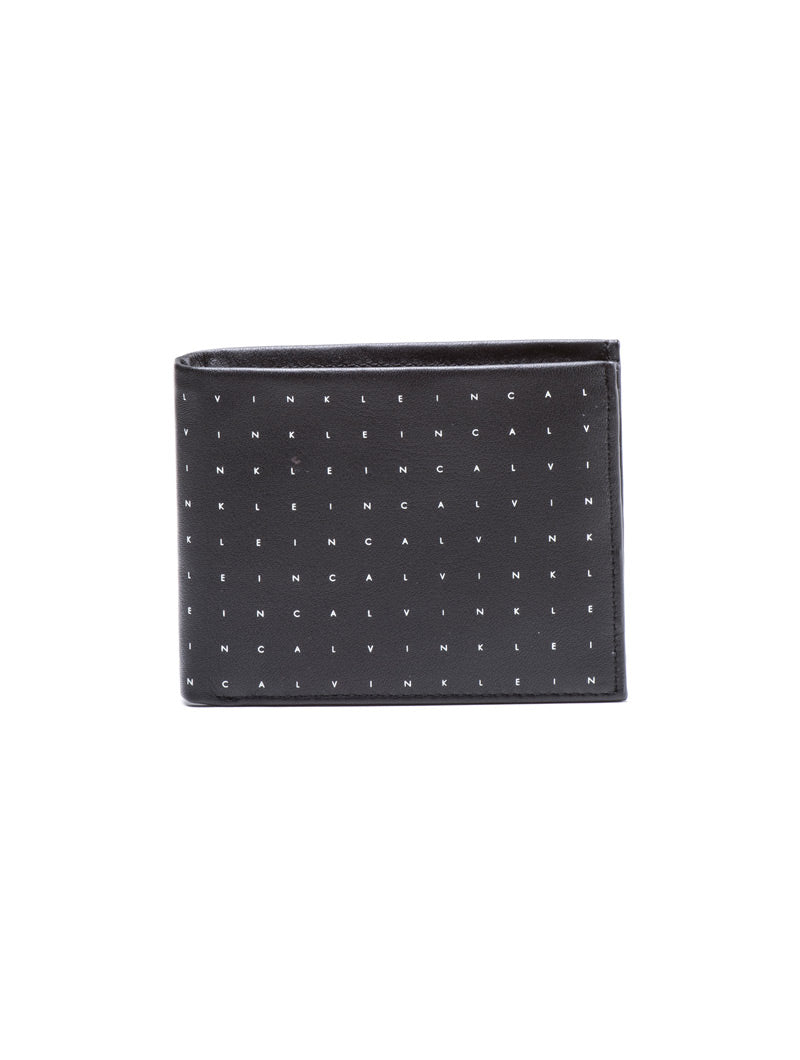 CALVIN GRID BILLFOLD 8CC WALLET IN BLACK