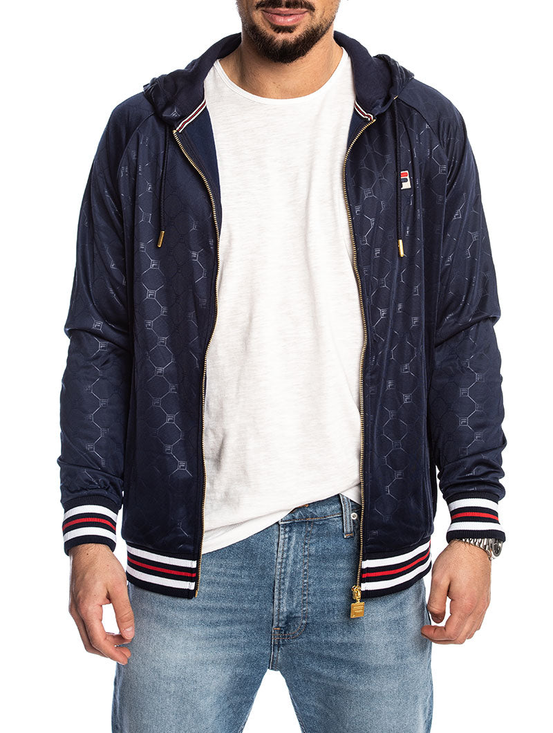 MEN ROYCE EMBOSSED ZIP THROUGH JACKET IN PEACOAT